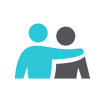 person with arm around person icon